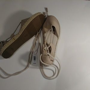 Shoes - GAP Tan Tie Around Flats